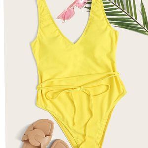 Swimsuit Tie Front High Leg One Piece LG. NEW!